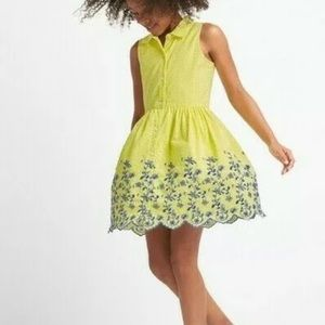 Gap NWT kids gingham yellow and blue dress